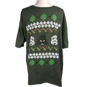 Star Wars Christmas TShirt Green Cross Stitch XXL